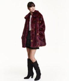 HM Burgundy Faux Fur jacket
