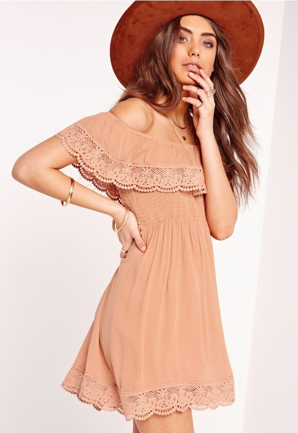 Missguided Crochet Trim Crinkle Bardot Dress Nude