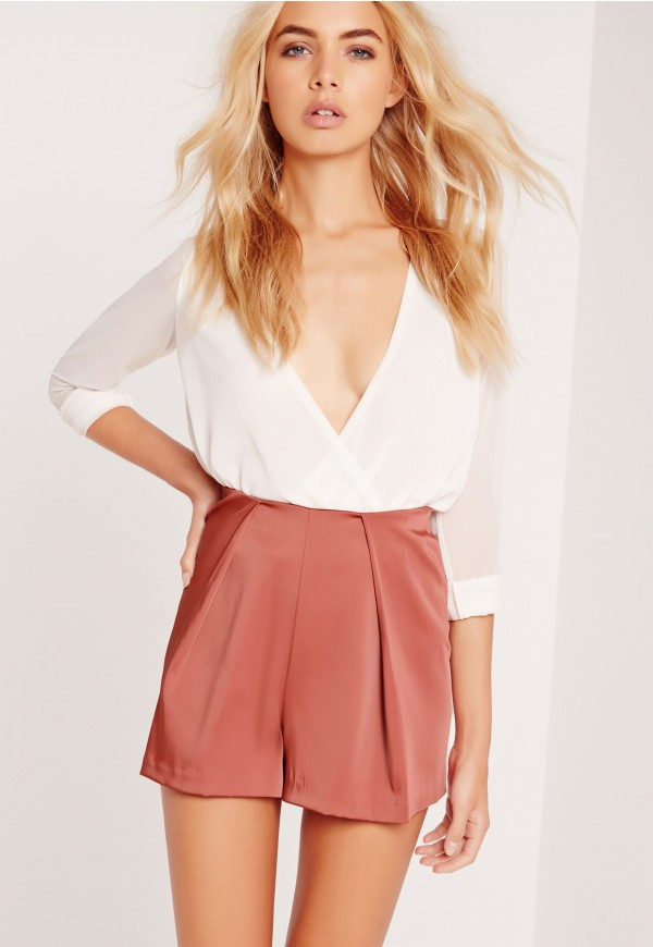 Missguided Satin Pleat Front Shorts Rose Pink