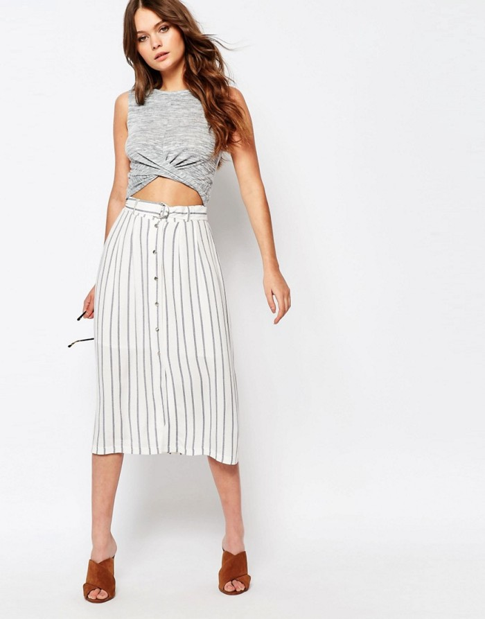 New Look Stripe Tie Waist Midi Skirt